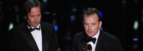 """El equipo de editores de sonido de """"Hugo"""" conformado por Eugene Gearty y Philip Stockton ganaron el Oscar a Mejor Edición de Sonido."""