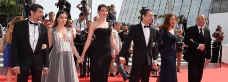 """El elenco de """"Goodbye to Language"""" en Cannes 2014."""